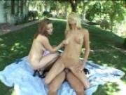 Insidious blonde pornstars Staci Thorn And Smokie Flame fucking a lucky prick outdoors